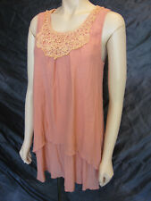Lagenlook Coral Swing Tunic Top Dress w/ Crochet Yoke - Size 12