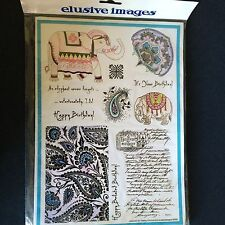 Elusive Images / Chocolate Baroque Paisley Elephant A4 Themeplate Rubberstamps