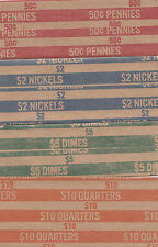 100 COIN WRAPPERS, YOU CHOOSE HOW MANY YOU WANT OF PENNY, NICKEL, DIME, QUARTER