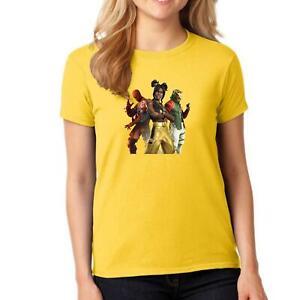 Womens Girls Fortnite 3 Characters Printed TShirt Crew Neck Short Sleeve Top