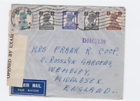 british india  1944 censor air mail bombay to england stamps cover ref r15381