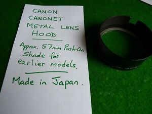 Canon Canonet Metal Lens Hood - 57mm Push-On SHADE for earlier models