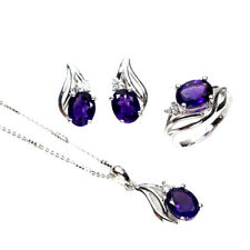 Unheated Oval Amethyst 9x7mm 14K White Gold Plate 925 Sterling Silver Sets