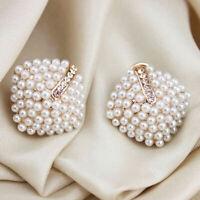 1 Paar Ohrstecker Ohrringe Doppelperlen Doppel Perle DE Perlen G9M6