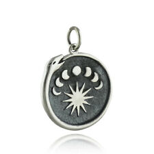 Ouroboros Snake Charm with Moon Phases Charm - 925 Sterling Silver Life NEW