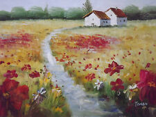 poppies flowers countryside landscape large oil painting canvas modern original