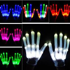 Halloween LED Rave Flashing Gloves Glow 7 Mode Light Up Finger Tip Lighting Pair