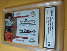 ANDREW SUSAC JOSH OSICH GIANTS 2011 PLAYOFF CONTENDERS COMBOS # 2 RC GRADED 10