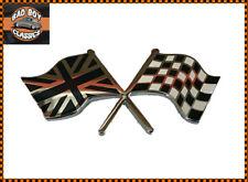 Black / Chrome Chequered Flag / Union Jack Enamel Badge Emblem CLASSIC CAR