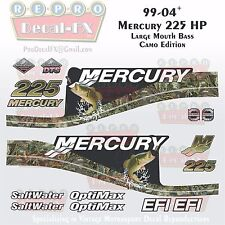 99-04 Mercury 225HP Lrg Mouth Bass Camo EFI 15pc Repro Decals Outboard