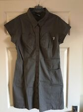 Khaki Bench Shirt Dress Size L (14) Vintage Retro