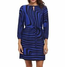 Tahari ASL Dress Sz 10 Black Cobalt Blue ELTON Printed Shift Career Cocktail
