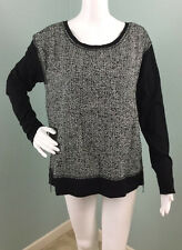 NWT Womens Cynthia Rowley Blk/Wht Mixed Media Herringbone Shirt Top Sz L Large