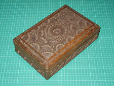 Antique Indian Ornately Carved Wooden Box Cigar/Cigarette Box - No Key