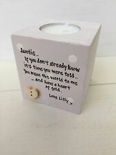Shabby Personalised Chic Auntie Aunty Great Aunt Any Name Candle Gift.. Birthday