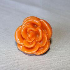 Enamel Rose Ring - Orange - Unique & Vintage - Statement Piece Flower Jewelry