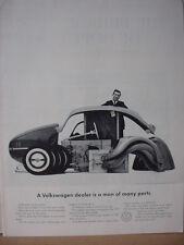1962 VW Volkswagen Beetle Bug Dealer man of Many Parts Vintage Print Ad 10607