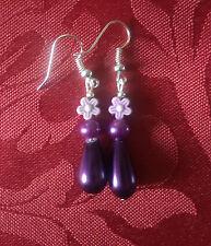 Drop glass pearl bead, purple drop dangle, silver plated hook,pearl flower 138