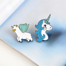 2 Pcs Cartoon Harajuku Style Alloy Enamel Unicorn Brooches Pin Badge Gift