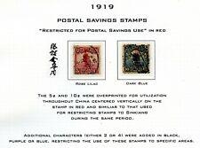 Weeda China 1919 Postal Savings Stamps overprints in red
