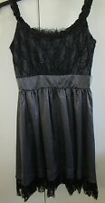 Ladies N&K Dress Size S Black White Polka Dot Lace Trim Unlined Silk Blend Party