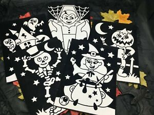 Halloween Colour-in Fuzzy Art Picture Craft Birthday Party Gift