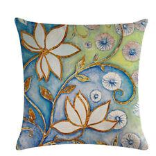 Pillowcase Summer Square Cushion Flower Linen Floral Sofa  Cover Home Decor CP