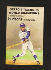 Detroit Tigers--1986 Pocket Schedule--Hudson's Restaurants