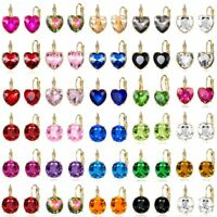 Women Crystal Zircon Round Heart Rhinestone Drop Dangle Hoop Earrings Jewelry