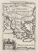 1686 TURCHIA IN EUROPA GRECIA BALCANI 17th Secolo Incisione MAPPA Mallet