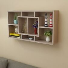 Floating Wall Display 8 Shelf Compartments Oak Colour Bookcase Storage Shelving