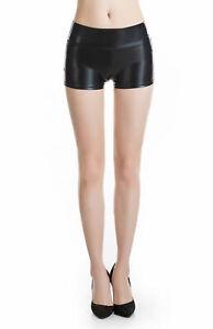 Stretchy Leather Look Clubwear High Waist Skinny Hot Pants Shorts Size XL Y302