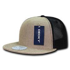 Jute Trucker Snapback Hat - Flat Bill, Natural Fibers (Decky 1138-NATBLK, New)