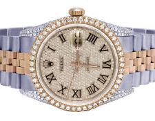 Rolex 18K/ Steel Datejust 36MM Two Tone Everose 16013 Diamond Watch 4.5 Ct