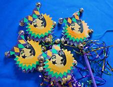 "set of 4 handheld Mardi Gras Jester on a stick w bells purple green yellow 17"""