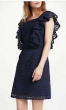 somerset by alice temperley Size 10 Navy Broderie Shift Dress Ruffle Rrp £160