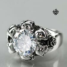 Silver ring simulated diamond stainless steel skull rose fashion