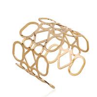 Women Fashion Gold Hollow Out Geometric Wide Open Cuff Bangle Chain Bracelet