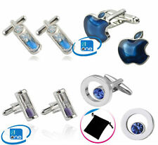 Silver Hourglass Sandglass Clock Glass Timer Apple Blue Cuff-links With Pouch