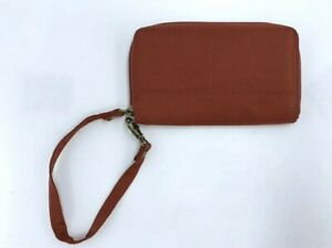 Travelon Rust Red Burnt Orange Zip Around RFID Wristlet strap Clutch Wallet