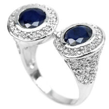 GENUINE AAA BLUE SAPPHIRE HEATED ROUND STERLING 925 SILVER RING SIZE 9.75