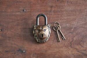 Antique Brass Lion Padlock with Key Novelty Fun Gift Elegant Design Nkuku