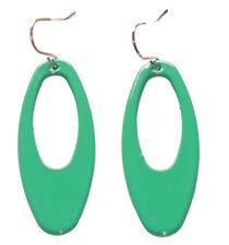 Shamrock Green Ladies Oval Drop Metal Glossy Earrings Unique (Zx111)