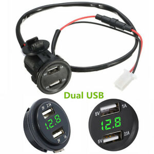 3.1A Dual USB Charger Socket Voltage Voltmeter Green Led Light For Motorcycles