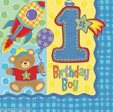HUGS & STITCHES TEDDY BEAR LUNCH NAPKINS (16) ~ 1st Birthday Party Supplies Boy