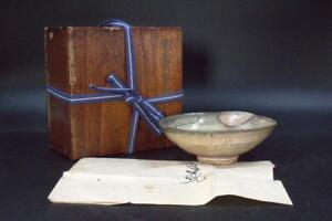 Korean Antique Early Joseon Period Hakeme Mishima Bowl Inlaid KRS34 w/box