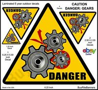 Gears, Pinch Conveyor Safety Warning Decals Stickers. 4 count 3 Sizes Laminated