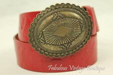 CATHRINE DIAL EASLEY Red Wide Western Tooled Leather BELT Silver Tone Buckle L