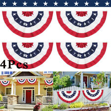 (4 PACK) 3x5ft American USA Bunting Flag Fan Parade Banner for 4th of July Decor
