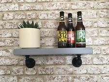 Pair Of Handmade Industrial Iron Steampunk Loft Style Shelf. Chunky Wood In Grey